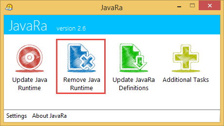 JavaRa. Пункт Remove Java Runtime