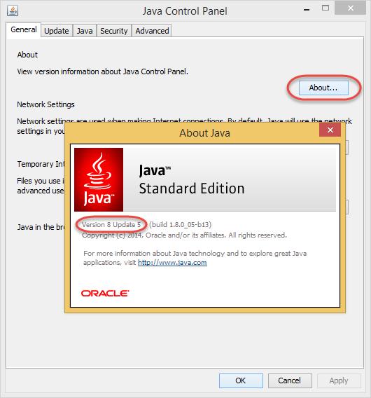 Определение версии Java с помощью Java Control Panel